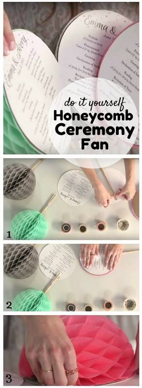 diy honeycomb ceremony fan