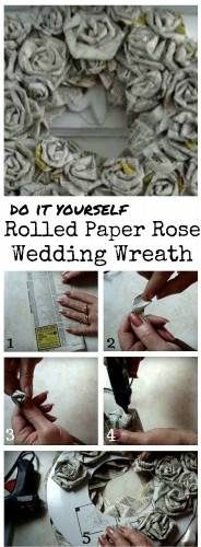 diy rolled paper rose wreath
