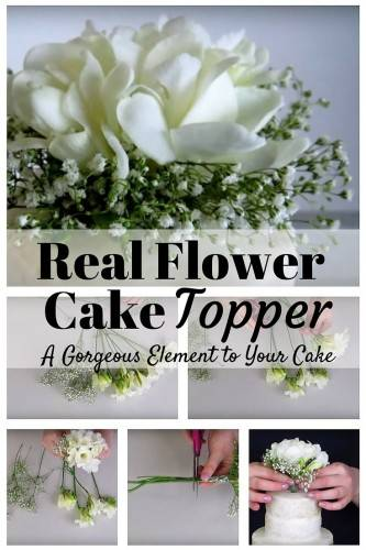 real flower cake topper diy