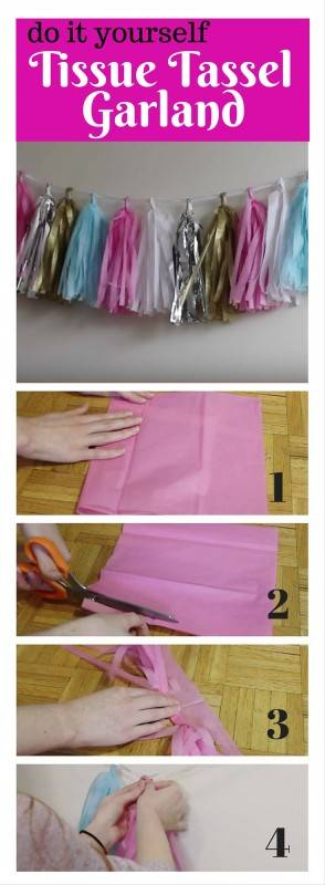 tissue tassel garland diy