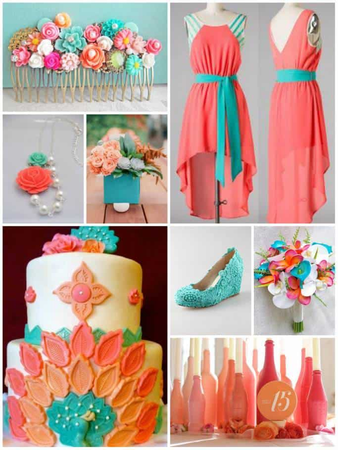 Color Combo Peach And Coral Turquoise The Inspired Bride