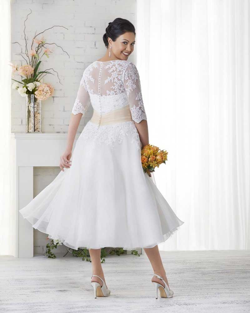 Plus Size Wedding Dresses - Tea Length
