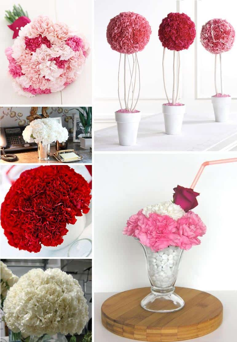 DIY Wedding Decorations For Every Budget - Carnation centerpieces