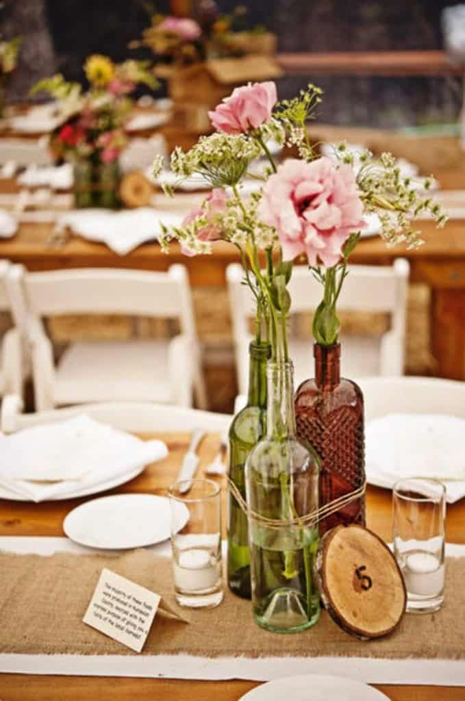 DIY Wedding Decorations For Every Budget - Centerpiece of bottles