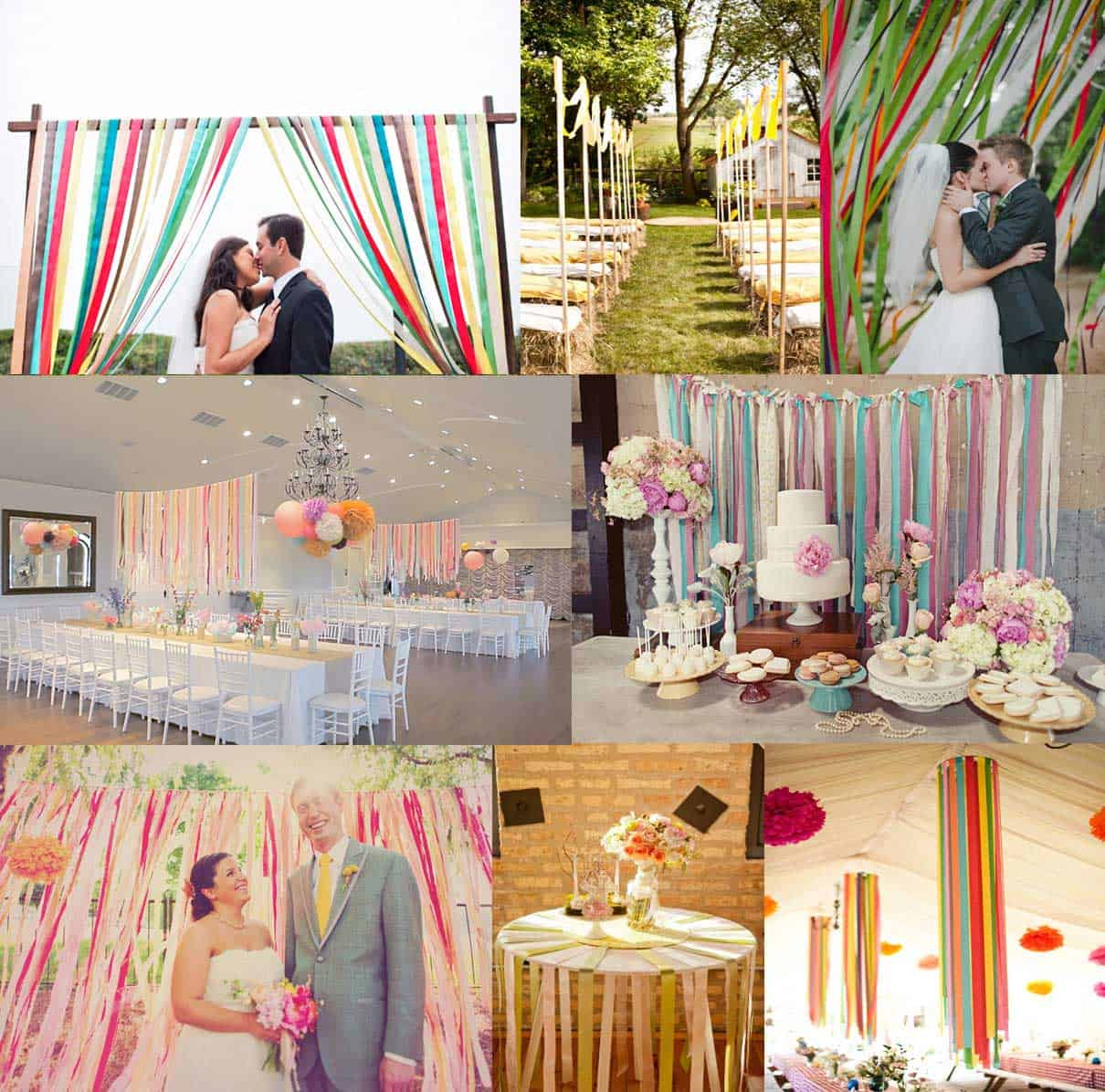 DIY Wedding Decorations For Every Budget - Ribbon Backdrop Idea