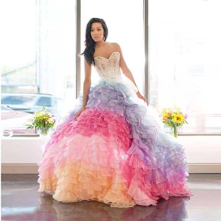 utterly different wedding dresses - rainbow glamour