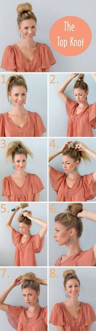 DIY wedding hairstyles - simple top knot