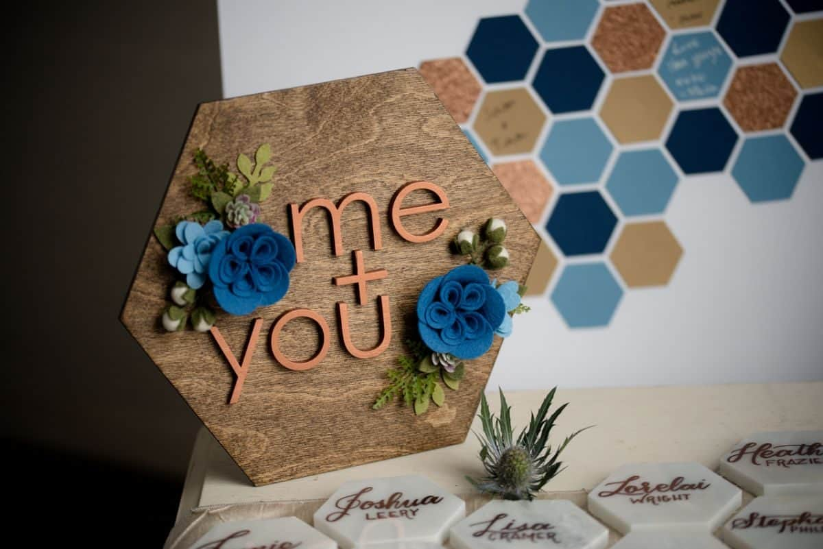 Steel Blue Geometric Geode Wedding Shoot