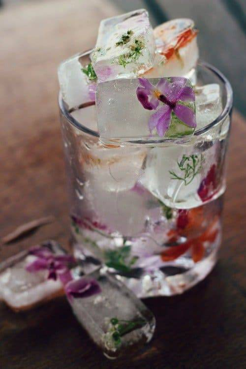 lust!!! freeze edible flowers in once-boiled water (less bubbles) by boiling and cooling water then pouring in a bit, freeze, add flowers and pour in more, freeze, then do an extra layer of flowers if you please….gorgeous!!! much more on what where &...