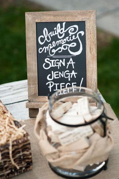 Playful Guest Book Idea: Jenga!
