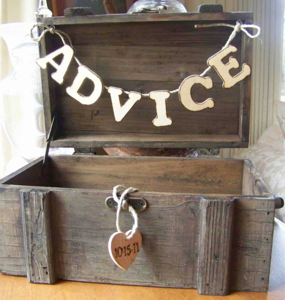 Cute Rustic D.I.Y Advice Box: Collect Pearls Of Wisdom