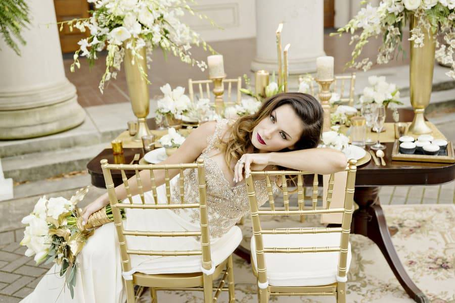 Gold Grecian Styled Shoot on University Campus by Andie Freeman Photography