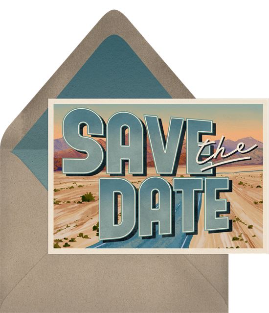 'Death Valley' Wedding Save The Date in Blue